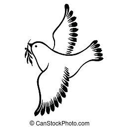 decorativo, vuelo, paz, silueta, paloma