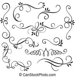 decorativo, whorls, arte, vendimia, ilustración, conjunto, vector, eps10, caligrafía, prospere, design.