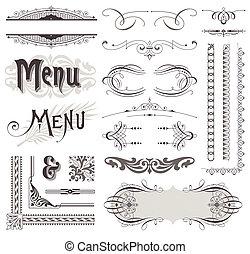 Decorativos decorativos vectores y adornos de páginas caligraficas