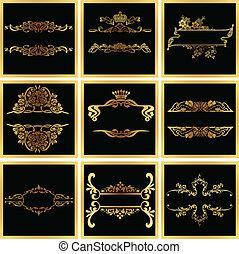 Decorativos marcos de vector dorado