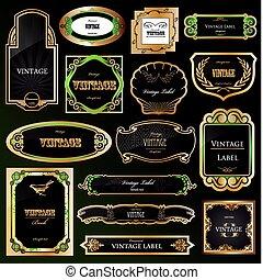 Decorativos marcos negros de oro. Vector