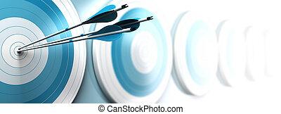 dedicado, efecto, uno, estratégico, blancos, azul, banner., alcanzar, tres, desvanecimiento, mancha, blanco, imagen, empresa / negocio, formato, mercadotecnia, horizontal, centro, muchos, flechas, com, o, primero