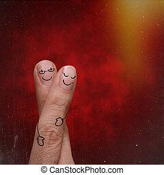 Dedos felices en diseño creativo del amor