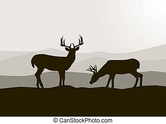 Deer silueta en la naturaleza