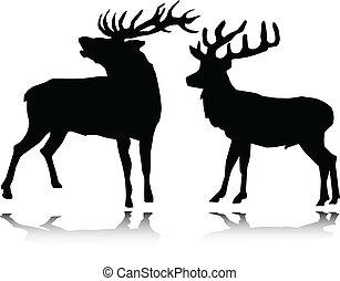 Deer vector siluetas