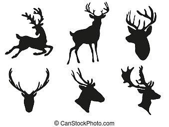 deers, siluetas