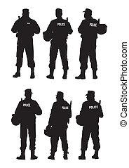 defensa, policía, barrera