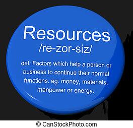 definición, bienes, empresa / negocio, recursos humanos, botón, materiales, recursos, exposiciones