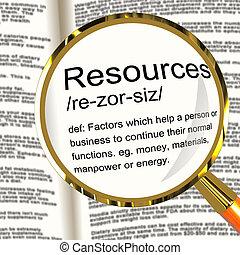 definición, bienes, empresa / negocio, recursos humanos, materiales, lupa, recursos, exposiciones