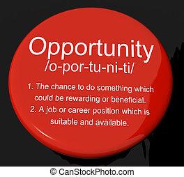definición, carrera, botón, posibilidad, oportunidad, posición, oportunidad, o, exposiciones