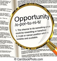 definición, carrera, posibilidad, oportunidad, posición, lupa, oportunidad, o, exposiciones