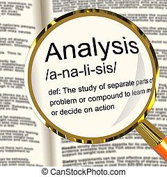 definición, estudio, examinar, actuación, análisis, sondeo, lupa, o