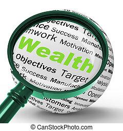 definición, fortuna, riqueza, tesoro, contabilidad, lupa, o, exposiciones