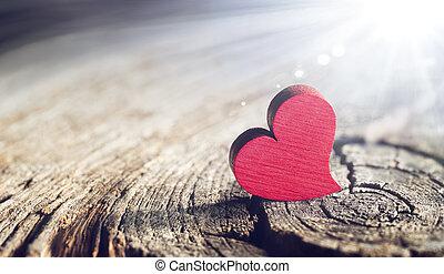 defocused, de madera, día, -, efecto, plano de fondo, valentines, corazón, luz del sol, llamarada