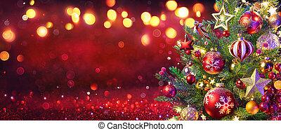 defocused, luces rojas, plano de fondo, navidad, resplandor, resumen, árbol