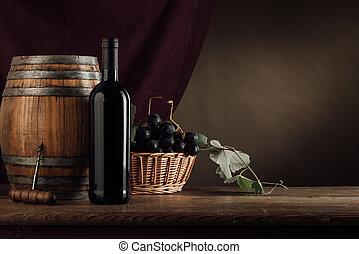 Degustación de vinos y fruta todavía la vida
