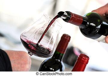 Degustar vino en un viñedo