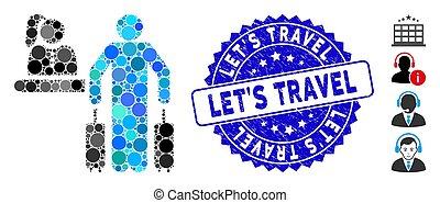 dejarnos, mosaico, recepción, viaje, icono, grunge, sello, hotel