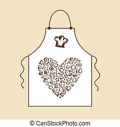 delantal, bosquejo, amor, cooking!, utensilios, diseño, su, cocina