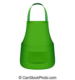 delantal, cocina verde