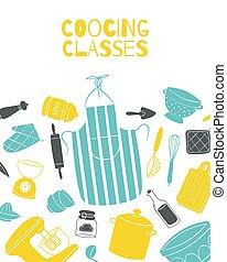delantal, ollas, cocinero, batería de cocina, chef, clases, cocina, vector, cartel, tabla, cocina, illustration.
