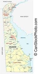 delaware, estado, norteamericano, camino, nosotros, administrativo, mapa