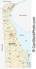 delaware, estado, norteamericano, camino, nosotros la topografía