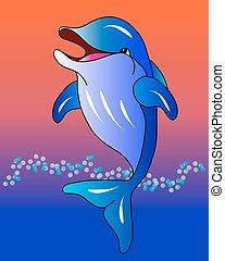 Delfín al atardecer.