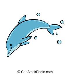 delfín, ilustración, azul, color, vector, plano