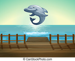 delfín, mar, saltar, puerto