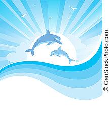 Delfines en el mar azul. Vector de la naturaleza con ondas abstractas