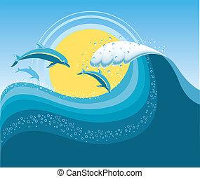 Delfines en onda de mar azul, caricaturas vectores de mar