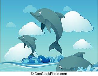 Delfines nadando en el océano