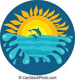 delfines, soleado, dos, plano de fondo, océano