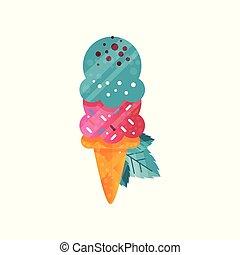 Delicioso helado brillante en vector de gofre cono ilustración en un fondo blanco
