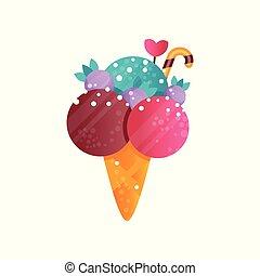 Delicioso helado colorido en vector de gofre cono ilustración en un fondo blanco