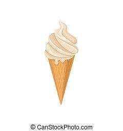 Delicioso helado en cono de gofre crujiente, vector frío de postre de verano ilustración en un fondo blanco