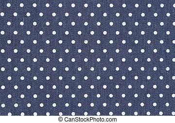 Denim azul oscuro con fondo blanco de tela de lunares
