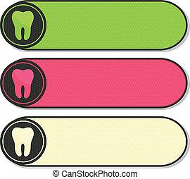 dental, banderas, colorido, diente