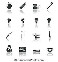 dental, negro, iconos