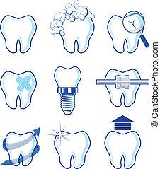 dental, vector, diseños, iconos