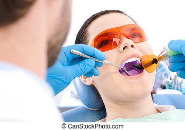 dentista, lámpara, curación, usos, photopolymer, dientes