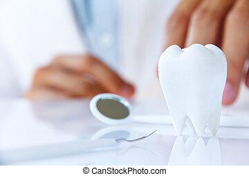 Dentista sosteniendo molar