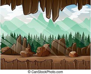 dentro, bosque, vista, cueva