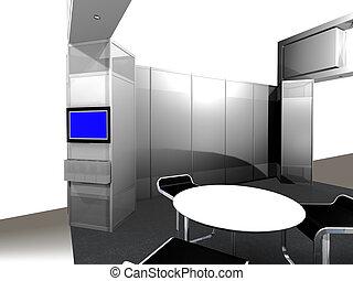 Dentro de una cabina de exhibición