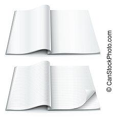 dentro, revista, envuelto, esquina, páginas, vacío