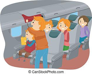 dentro, stickman, avión, familia