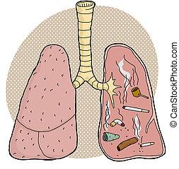 dentro, tabaco, pulmones