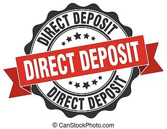 depósito, signo., sello, directo, stamp.