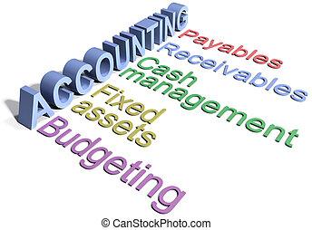 departamento, contabilidad, negocio corporativo, palabras
